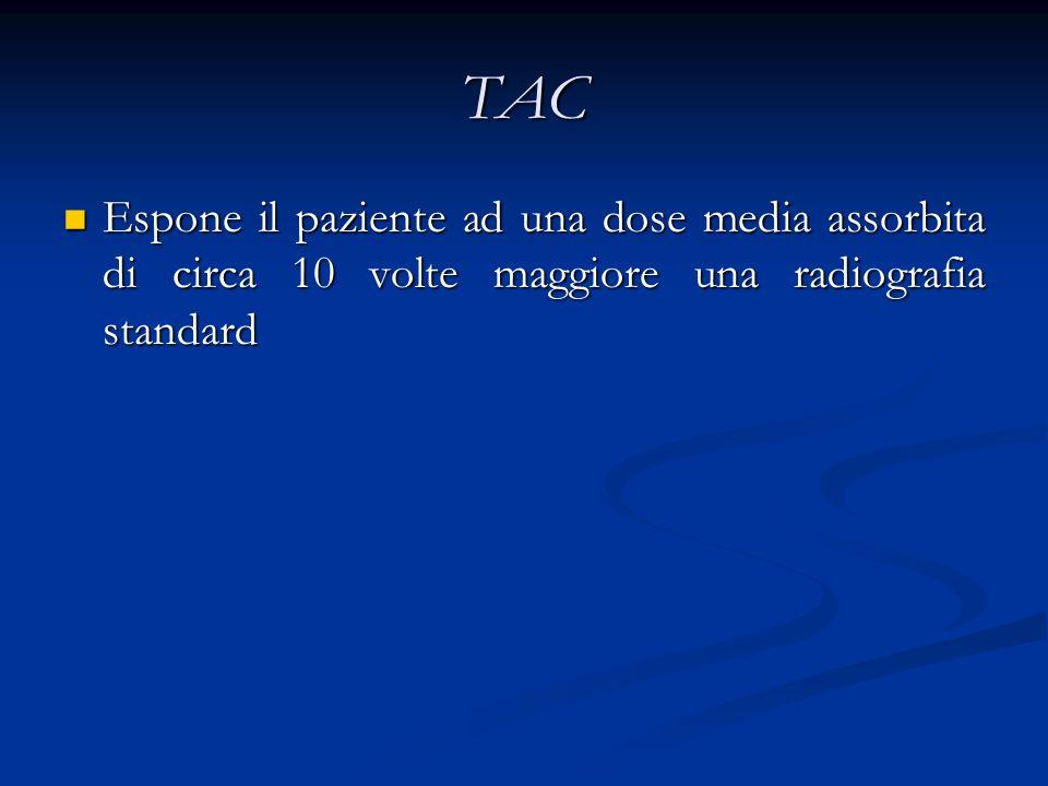 TAC Espone il paziente ad una dose media assorbita di circa 10 volte maggiore una radiografia standard.