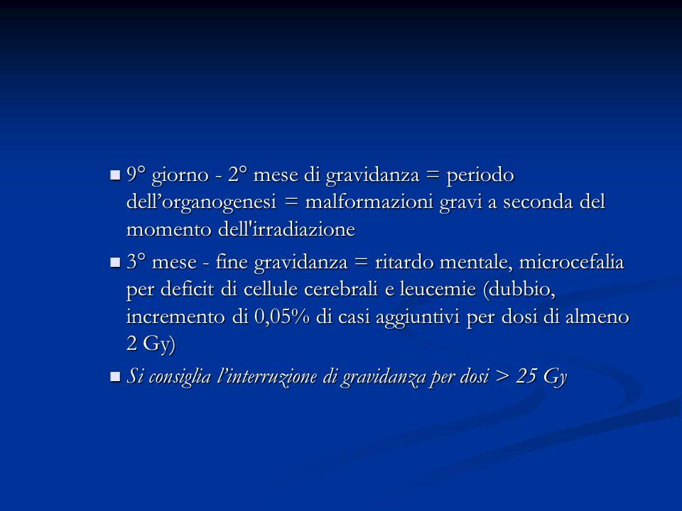 9° giorno - 2° mese di gravidanza = periodo dell'organogenesi = malformazioni gravi a seconda del momento dell irradiazione