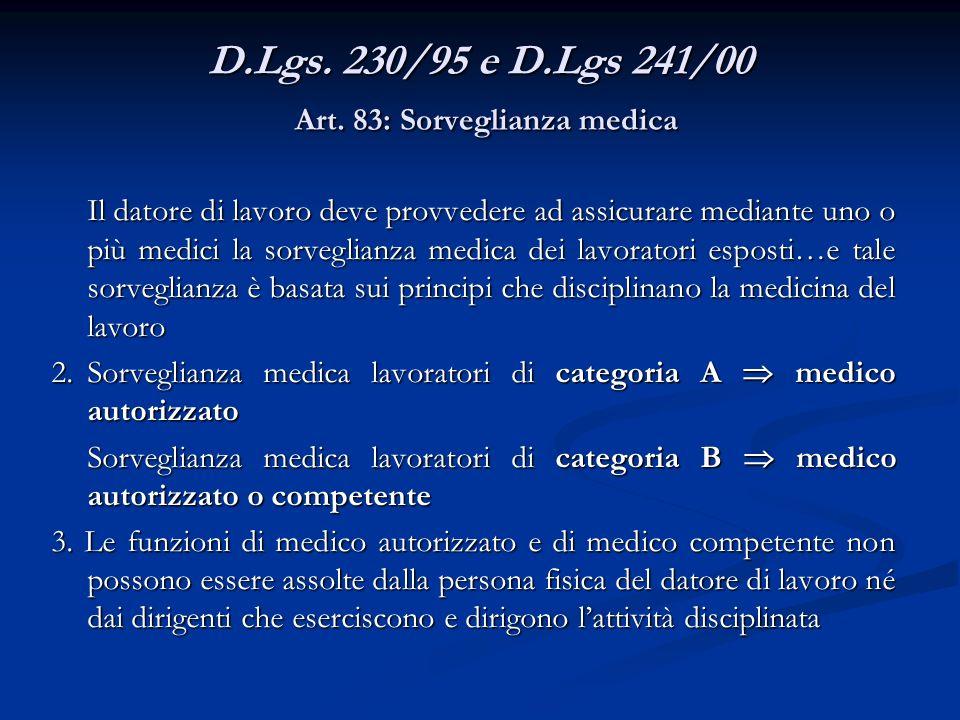D.Lgs. 230/95 e D.Lgs 241/00 Art. 83: Sorveglianza medica