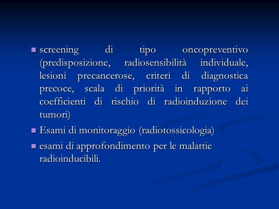 screening di tipo oncopreventivo (predisposizione, radiosensibilità individuale, lesioni precancerose, criteri di diagnostica precoce, scala di priorità in rapporto ai coefficienti di rischio di radioinduzione dei tumori)
