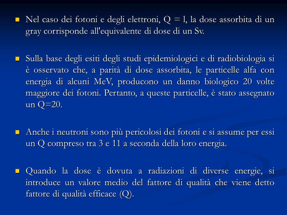 Nel caso dei fotoni e degli elettroni, Q = l, la dose assorbita di un gray corrisponde all equivalente di dose di un Sv.