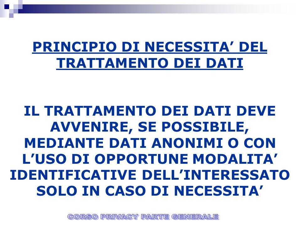 PRINCIPIO DI NECESSITA' DEL TRATTAMENTO DEI DATI