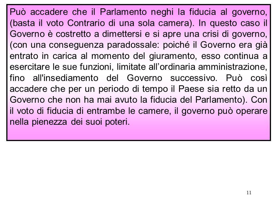 Può accadere che il Parlamento neghi la fiducia al governo, (basta il voto Contrario di una sola camera).