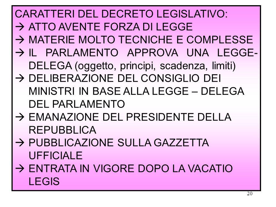 CARATTERI DEL DECRETO LEGISLATIVO:
