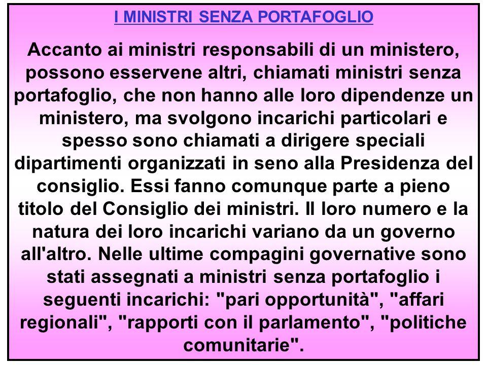 I MINISTRI SENZA PORTAFOGLIO