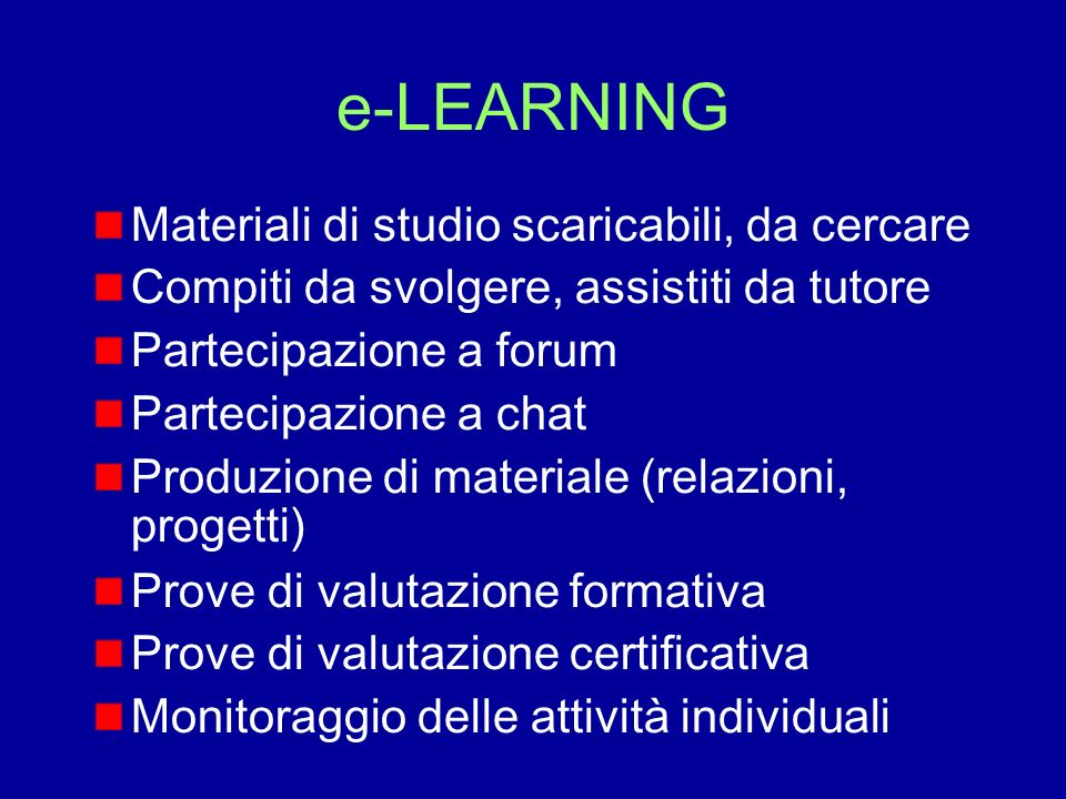 e-LEARNING Materiali di studio scaricabili, da cercare