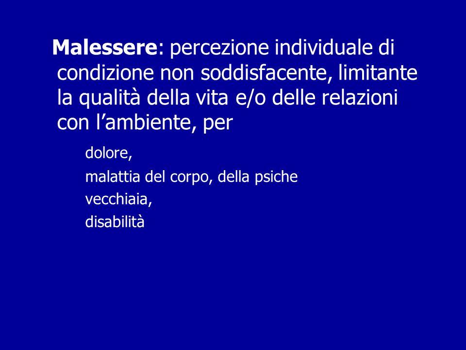 Malessere: percezione individuale di condizione non soddisfacente, limitante la qualità della vita e/o delle relazioni con l'ambiente, per