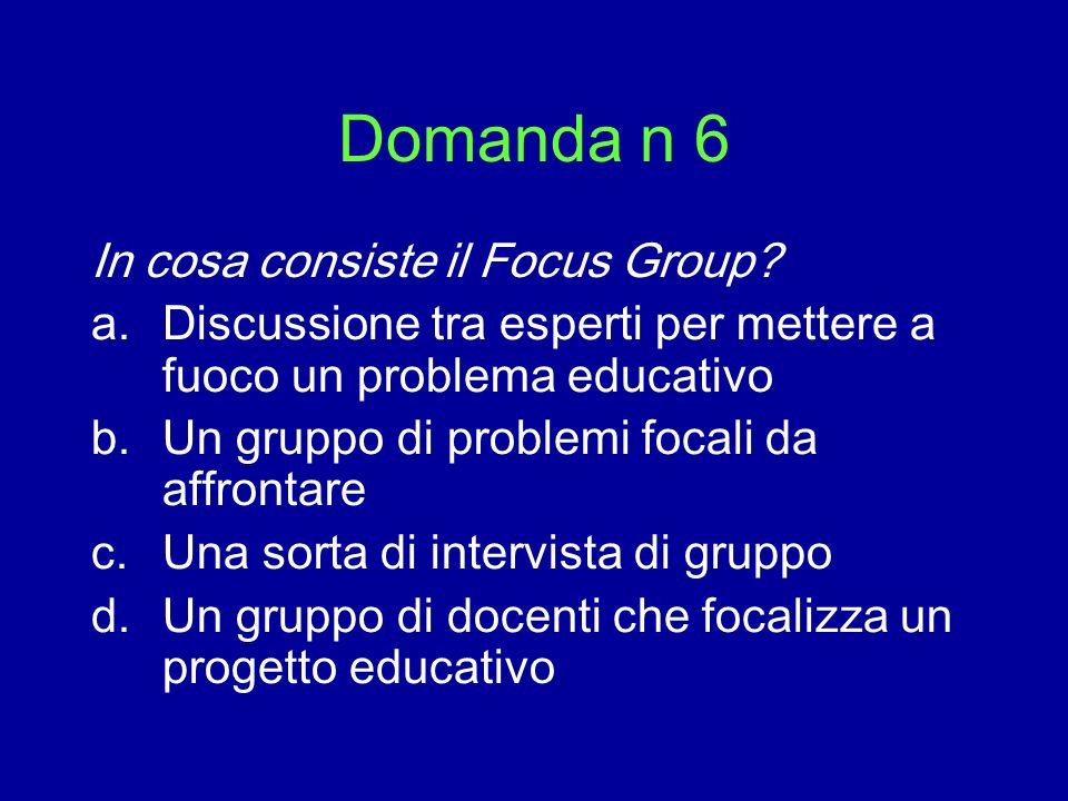 Domanda n 6 In cosa consiste il Focus Group