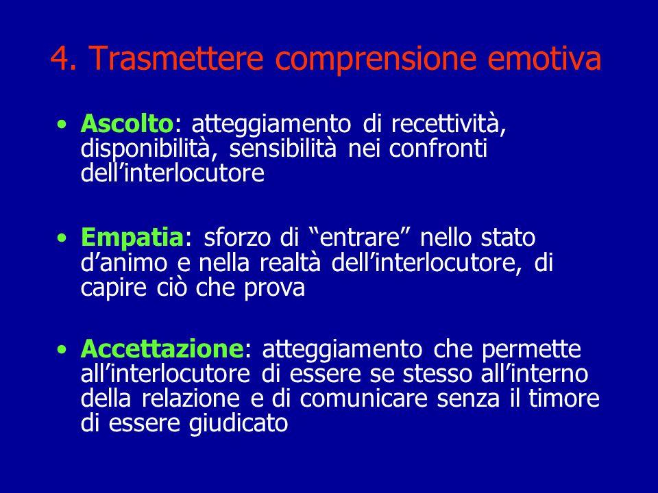 4. Trasmettere comprensione emotiva