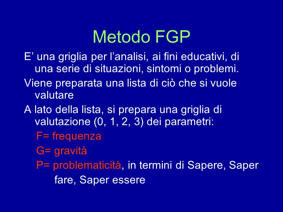 Metodo FGP E' una griglia per l'analisi, ai fini educativi, di una serie di situazioni, sintomi o problemi.