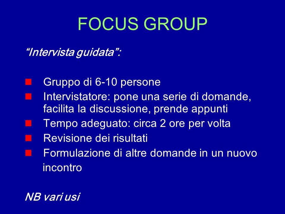 FOCUS GROUP Intervista guidata : Gruppo di 6-10 persone