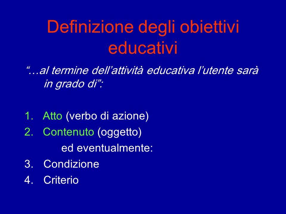 Definizione degli obiettivi educativi