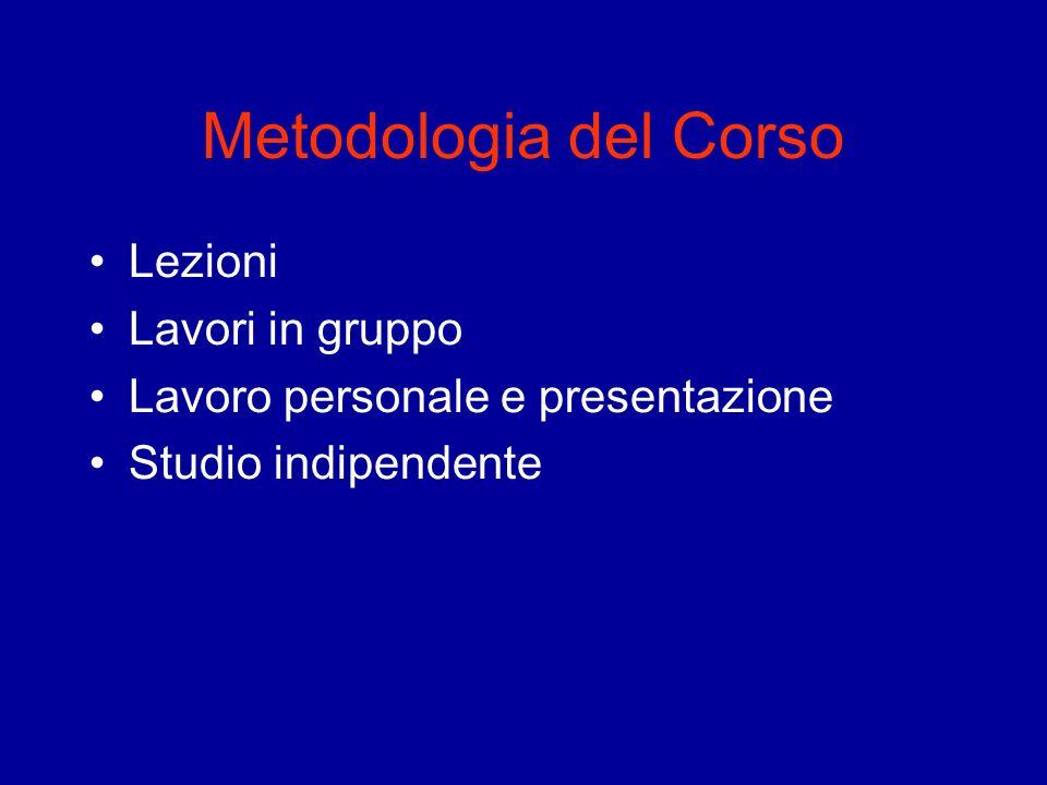 Metodologia del Corso Lezioni Lavori in gruppo