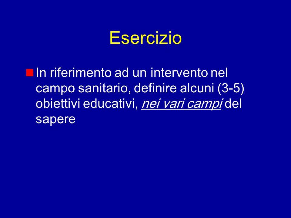 Esercizio In riferimento ad un intervento nel campo sanitario, definire alcuni (3-5) obiettivi educativi, nei vari campi del sapere.