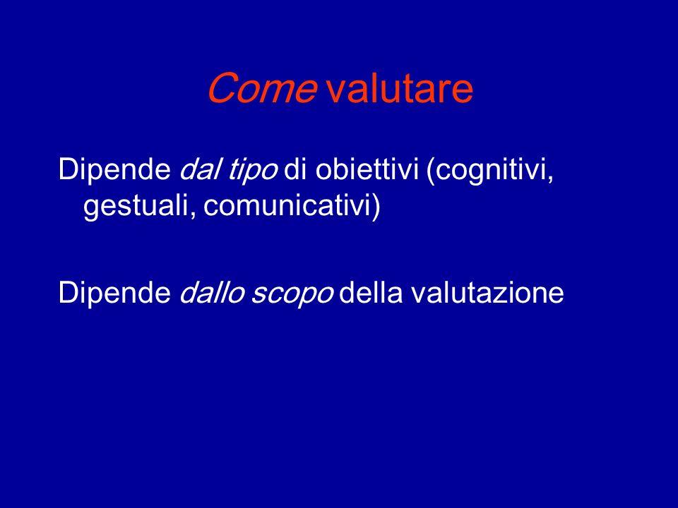 Come valutare Dipende dal tipo di obiettivi (cognitivi, gestuali, comunicativi) Dipende dallo scopo della valutazione.