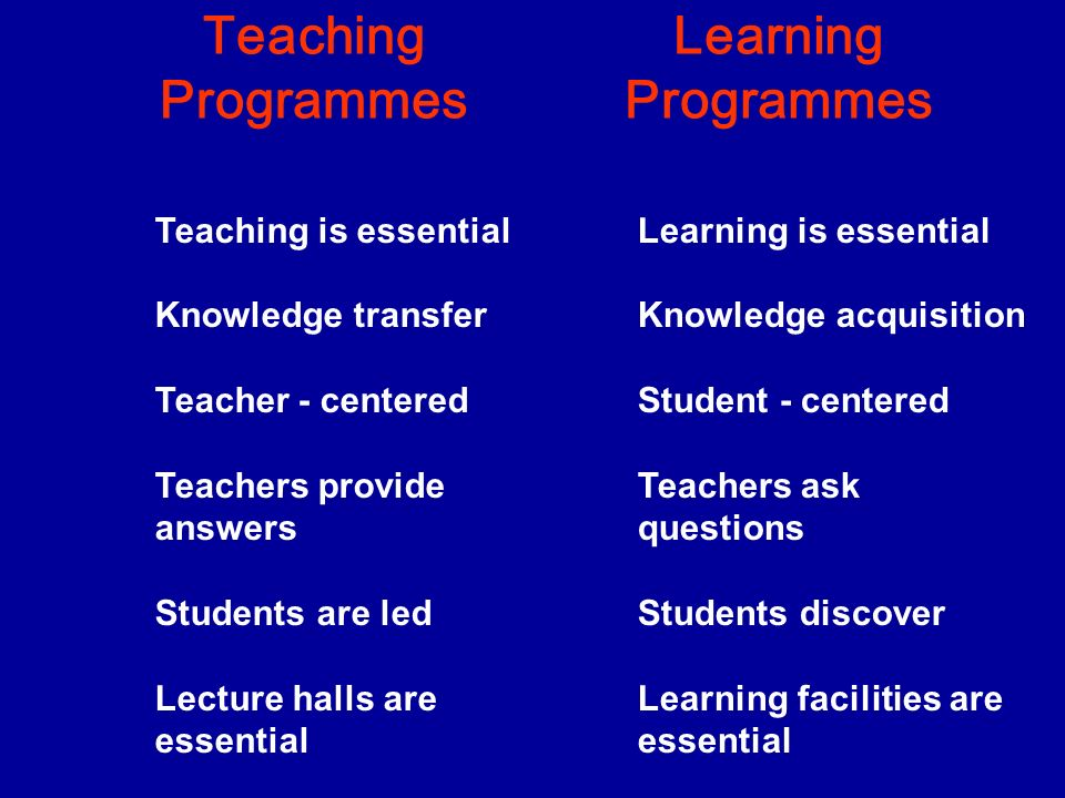 Teaching Programmes Learning Programmes Teaching is essential