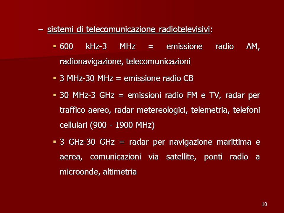 sistemi di telecomunicazione radiotelevisivi: