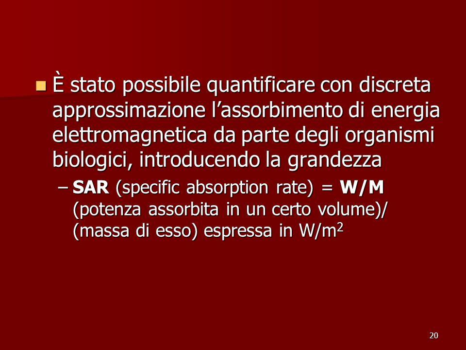 È stato possibile quantificare con discreta approssimazione l'assorbimento di energia elettromagnetica da parte degli organismi biologici, introducendo la grandezza