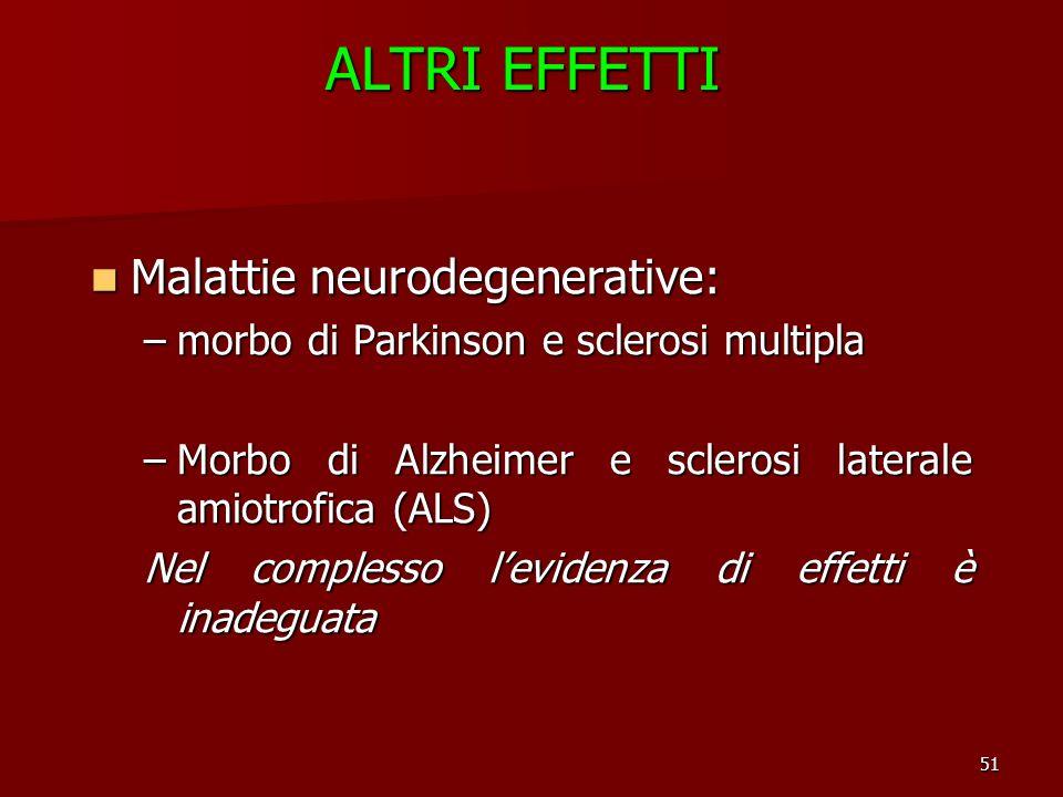 ALTRI EFFETTI Malattie neurodegenerative: