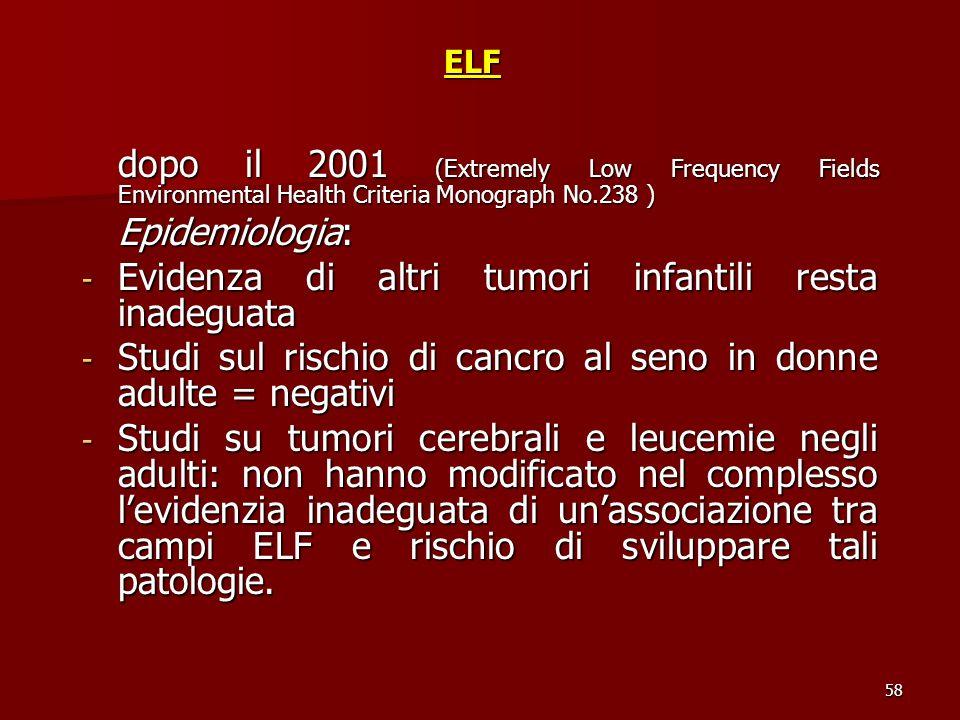 Evidenza di altri tumori infantili resta inadeguata