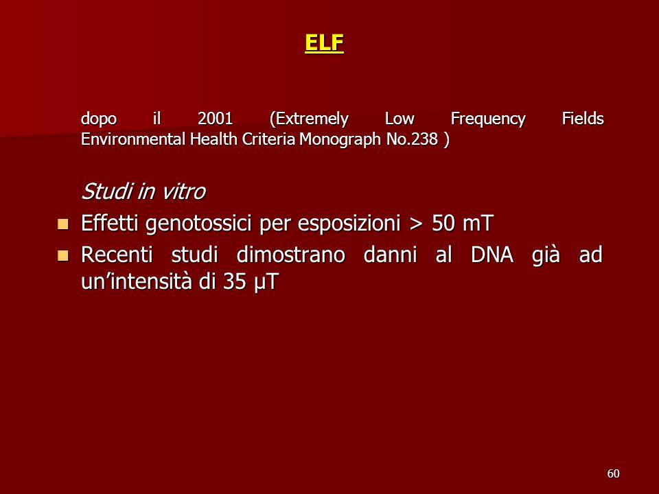 Effetti genotossici per esposizioni > 50 mT