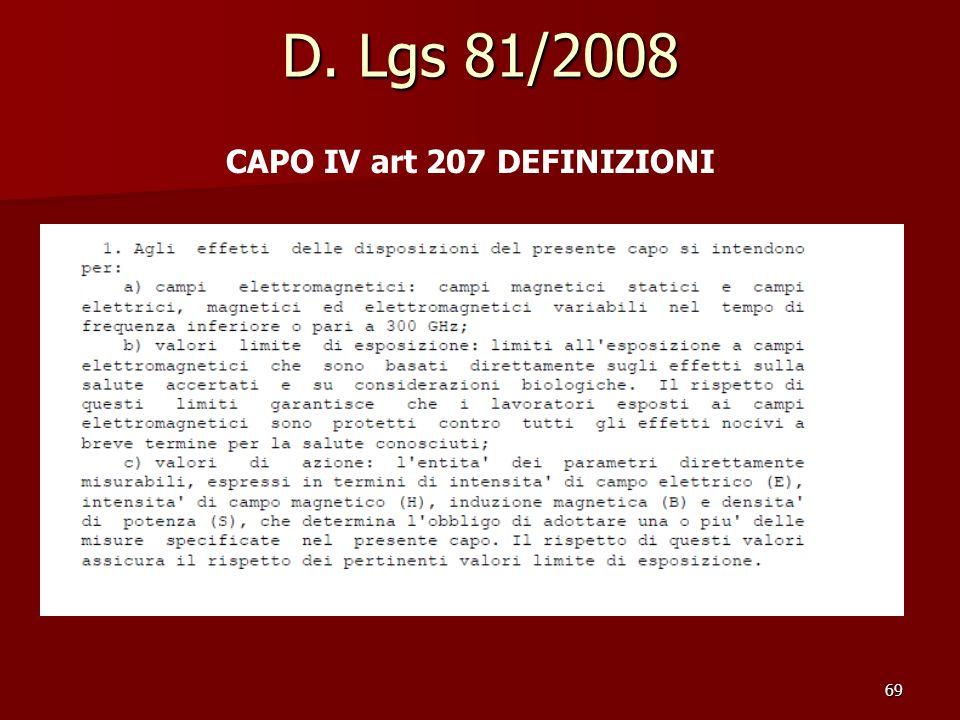 D. Lgs 81/2008 CAPO IV art 207 DEFINIZIONI