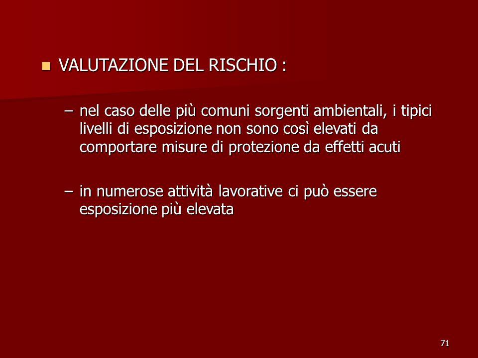 VALUTAZIONE DEL RISCHIO :