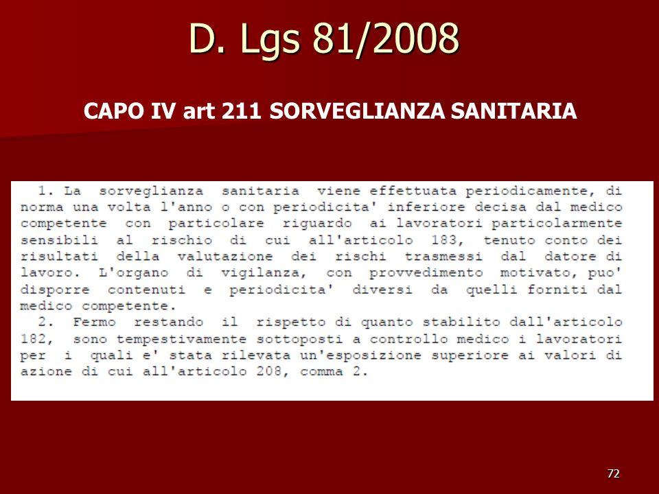 D. Lgs 81/2008 CAPO IV art 211 SORVEGLIANZA SANITARIA