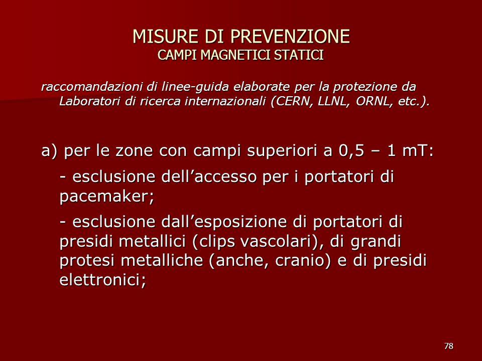 MISURE DI PREVENZIONE CAMPI MAGNETICI STATICI