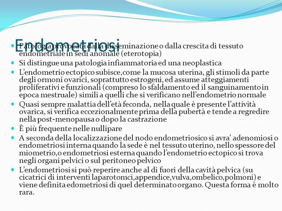EndometriosiPatologia provocata dalla disseminazione o dalla crescita di tessuto endometriale in sedi anomale (eterotopia)