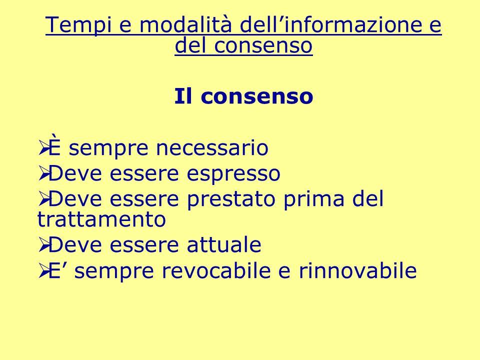 Tempi e modalità dell'informazione e del consenso