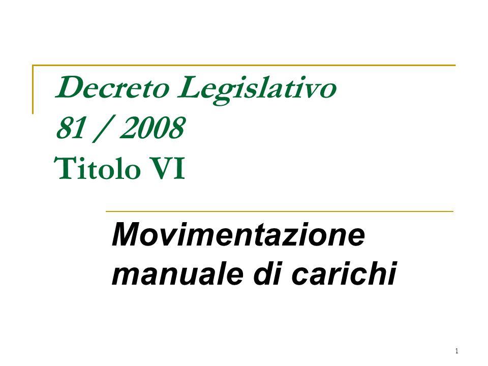 Decreto Legislativo 81 / 2008 Titolo VI