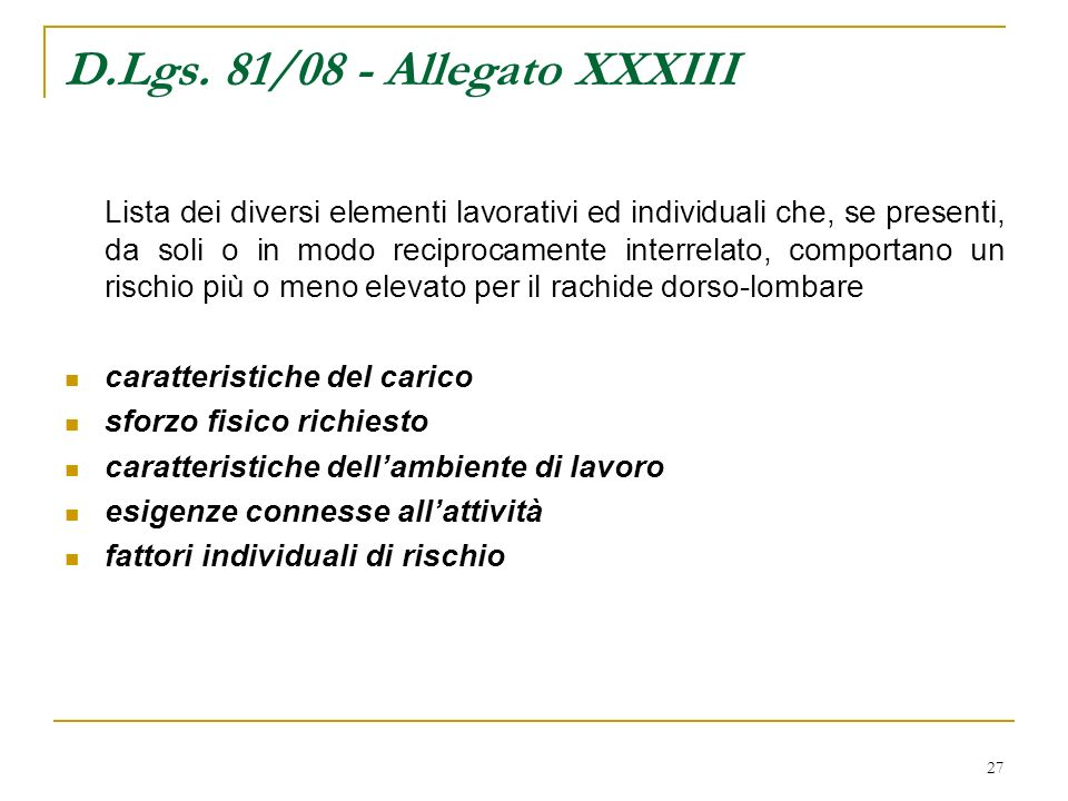 D.Lgs. 81/08 - Allegato XXXIII