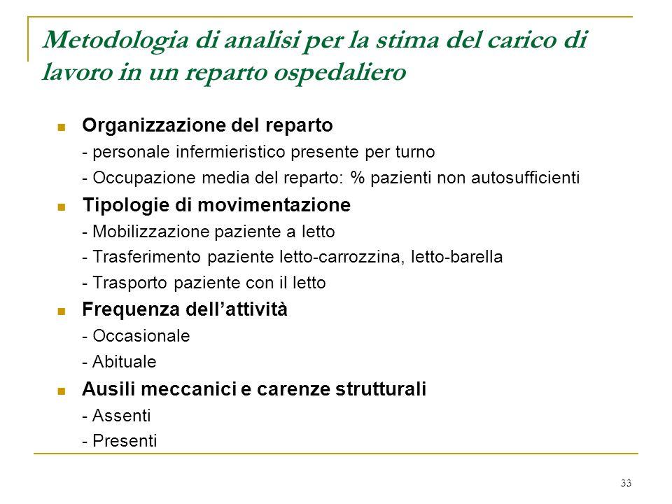 Metodologia di analisi per la stima del carico di lavoro in un reparto ospedaliero