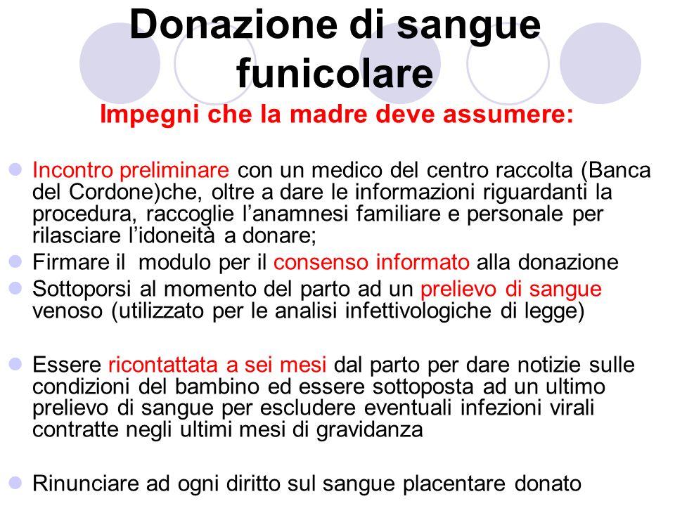 Donazione di sangue funicolare