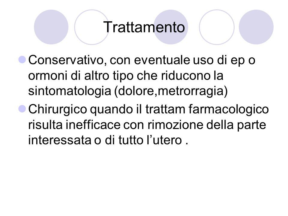 Trattamento Conservativo, con eventuale uso di ep o ormoni di altro tipo che riducono la sintomatologia (dolore,metrorragia)