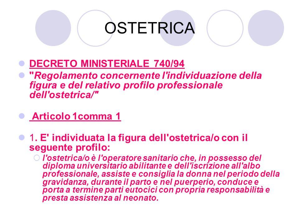 OSTETRICA DECRETO MINISTERIALE 740/94