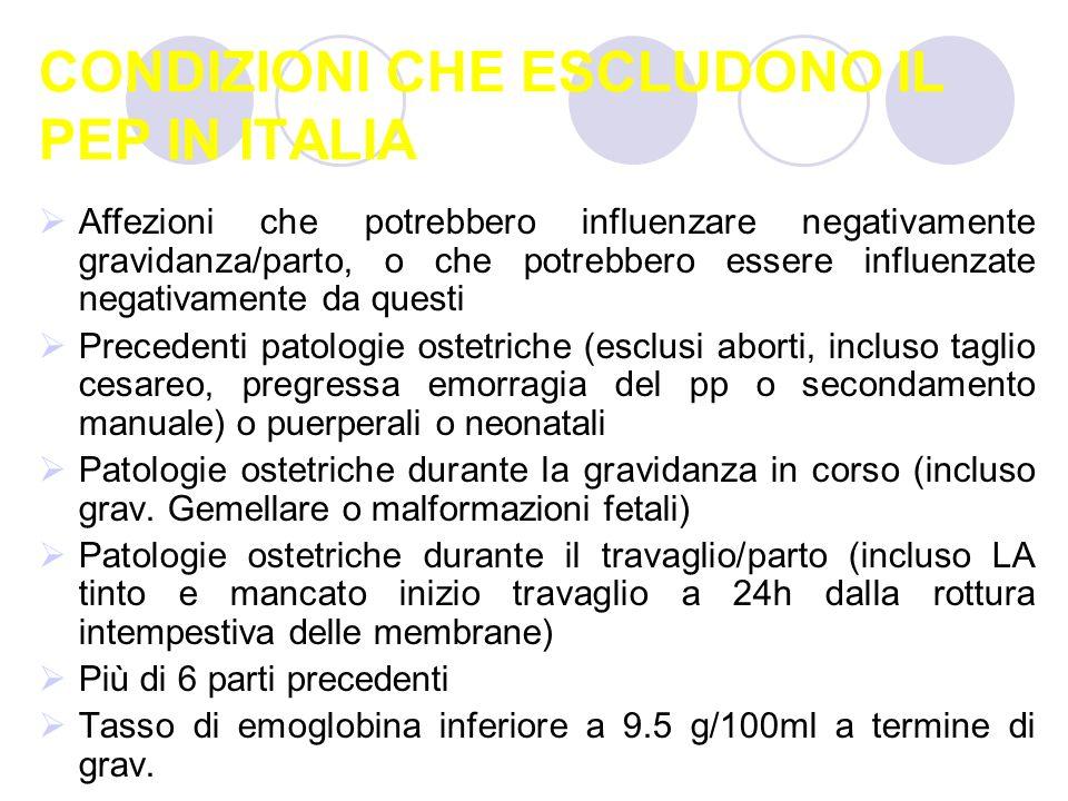 CONDIZIONI CHE ESCLUDONO IL PEP IN ITALIA