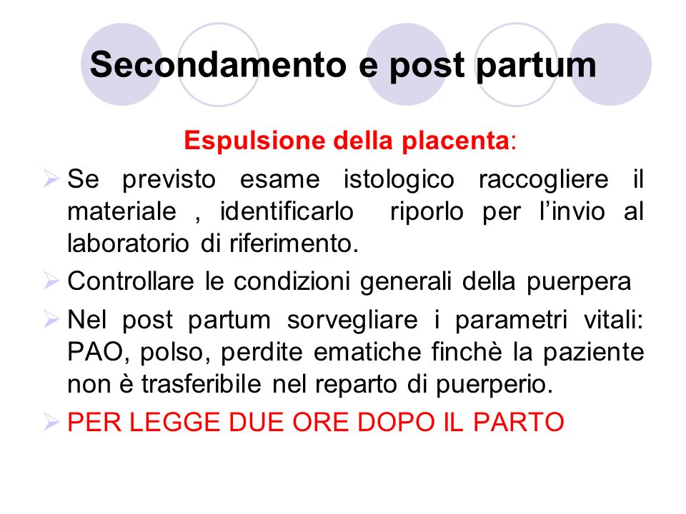 Secondamento e post partum