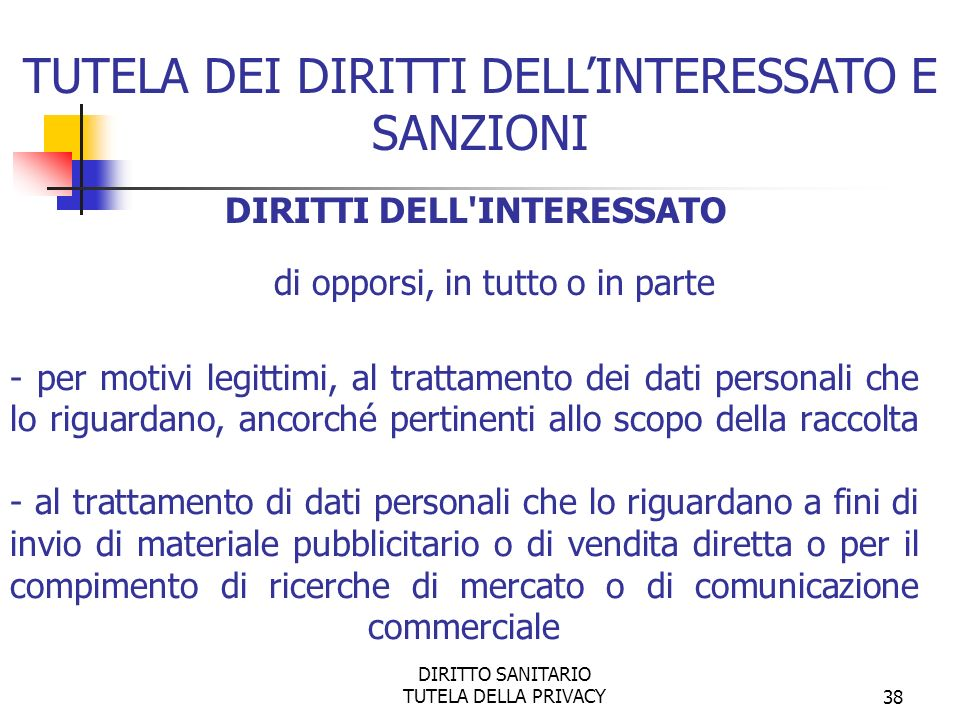 TUTELA DEI DIRITTI DELL'INTERESSATO E SANZIONI