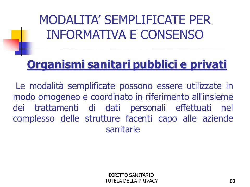 MODALITA' SEMPLIFICATE PER INFORMATIVA E CONSENSO