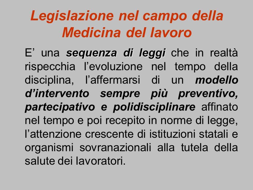 Legislazione nel campo della Medicina del lavoro