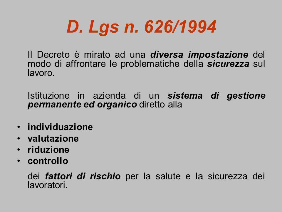 D. Lgs n. 626/1994Il Decreto è mirato ad una diversa impostazione del modo di affrontare le problematiche della sicurezza sul lavoro.