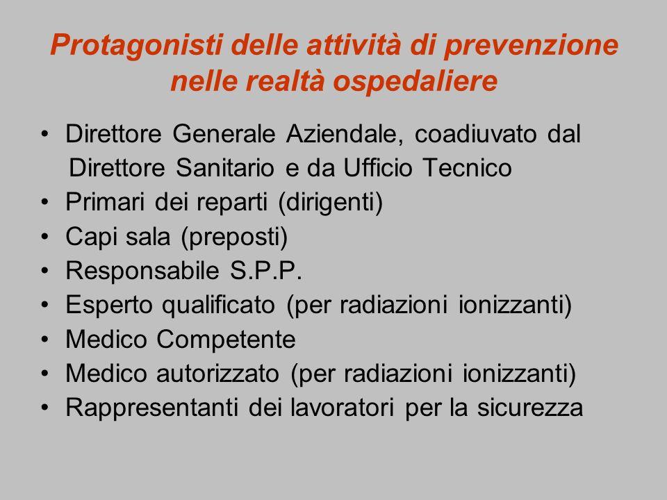 Protagonisti delle attività di prevenzione nelle realtà ospedaliere
