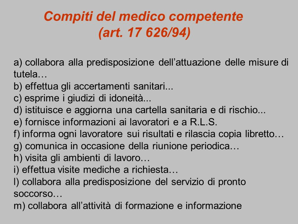 Compiti del medico competente (art