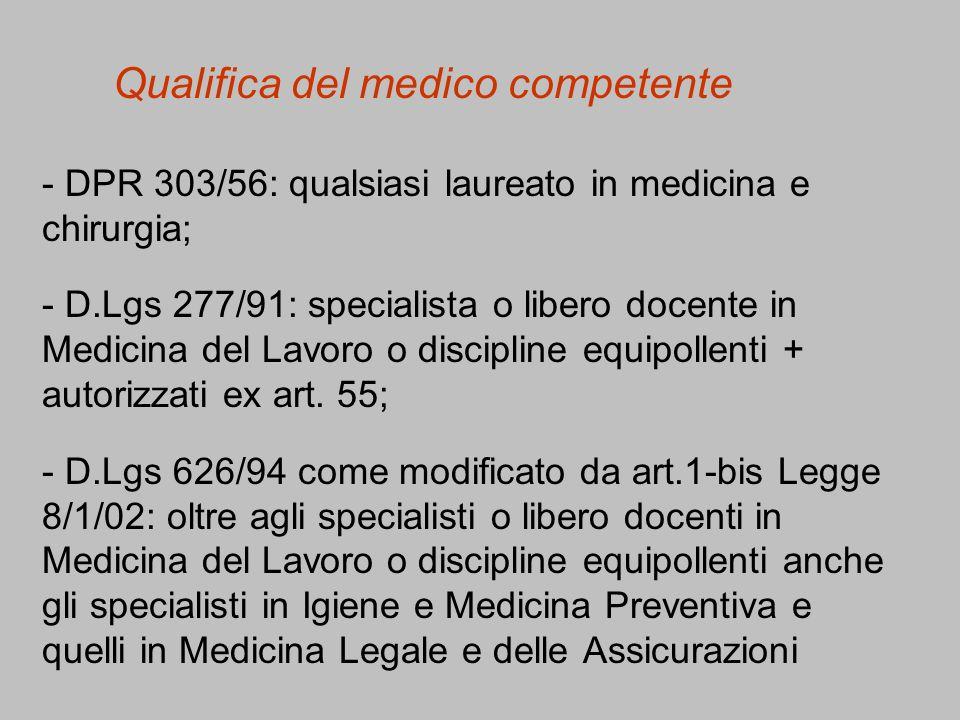 Qualifica del medico competente - DPR 303/56: qualsiasi laureato in medicina e chirurgia; - D.Lgs 277/91: specialista o libero docente in Medicina del Lavoro o discipline equipollenti + autorizzati ex art.