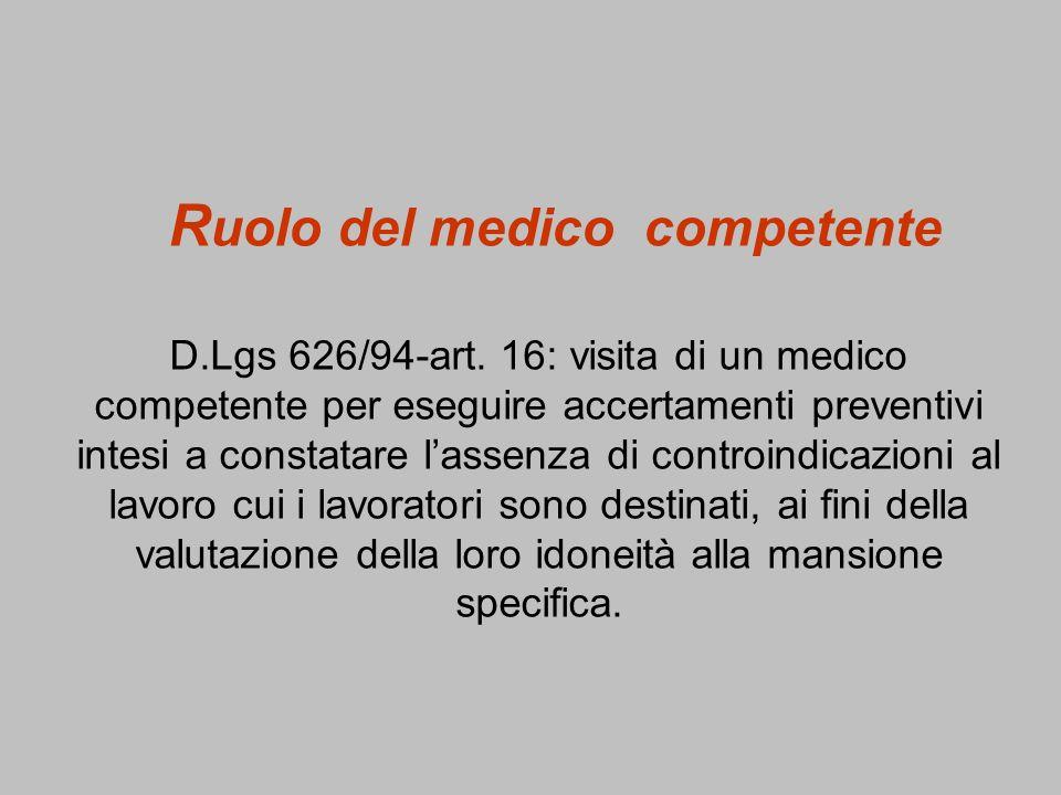 Ruolo del medico competente D. Lgs 626/94-art