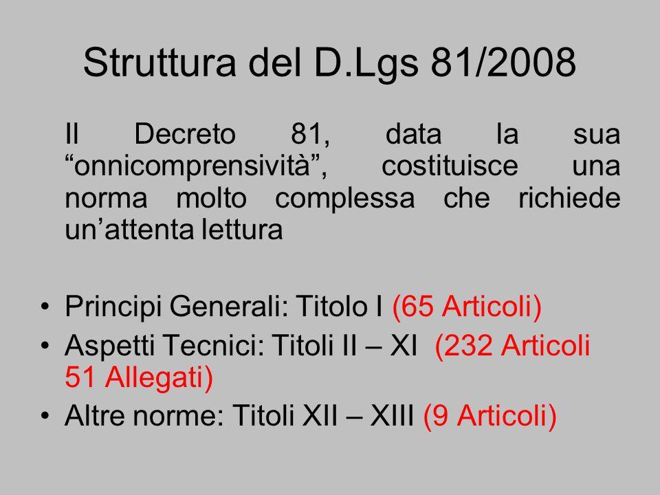Struttura del D.Lgs 81/2008Il Decreto 81, data la sua onnicomprensività , costituisce una norma molto complessa che richiede un'attenta lettura.