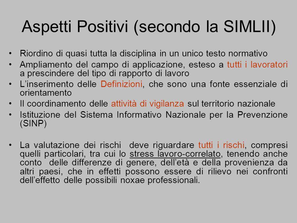 Aspetti Positivi (secondo la SIMLII)