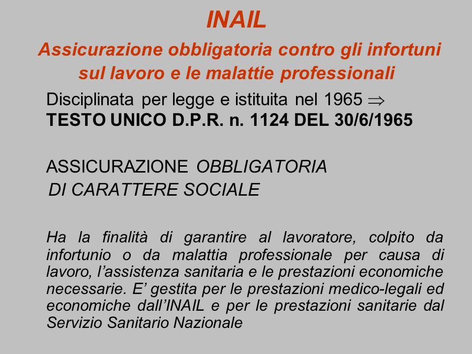 INAIL Assicurazione obbligatoria contro gli infortuni sul lavoro e le malattie professionali